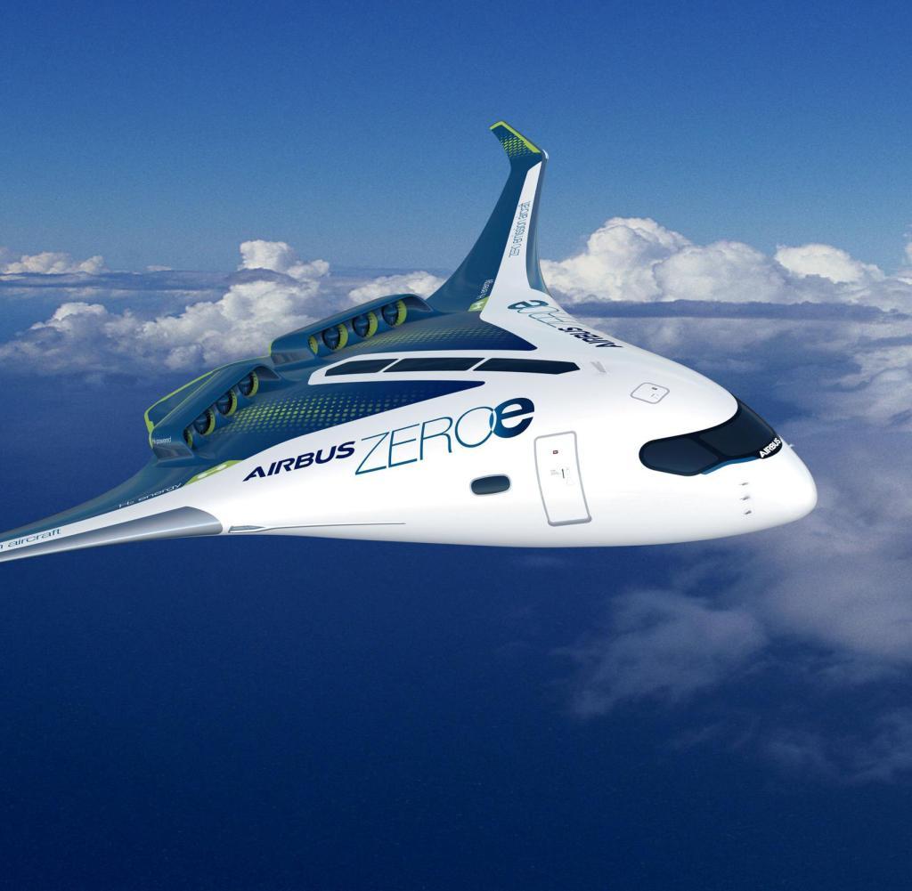 Eine grafische Darstellung eines Wasserstoffflugzeugs für bis zu 200 Passagiere. 2035 soll es fertig sein